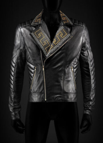 New Versace Golden Silver Studded Mens Black Cowhide Leather Jacket All Sizes