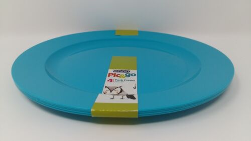 4 x EDGO Pic/&go 4 Pack Plastic Plates Blue Pastel Party Event Picnic BBQ Buffet