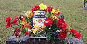 Preschool-Teacher-Sympathy-Memorial-Grave-Cemetery-Tombstone-Saddle-Silk-Flowers