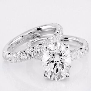 2 00 Ct Oval Cut Diamond Ring Wedding Band Set H Vs1 14k White