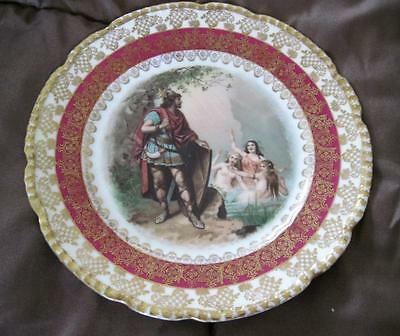 """O.& E.g Ceramics & Porcelain Oscar & Edgar Gutherz Soldier With Three Muses Gold Trimmed 7.75"""" Plate"""