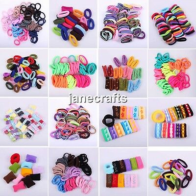 24-100pcs Girls Elastic Hair Ties Band Bracelets Scrunchie Rope Ponytail Holders