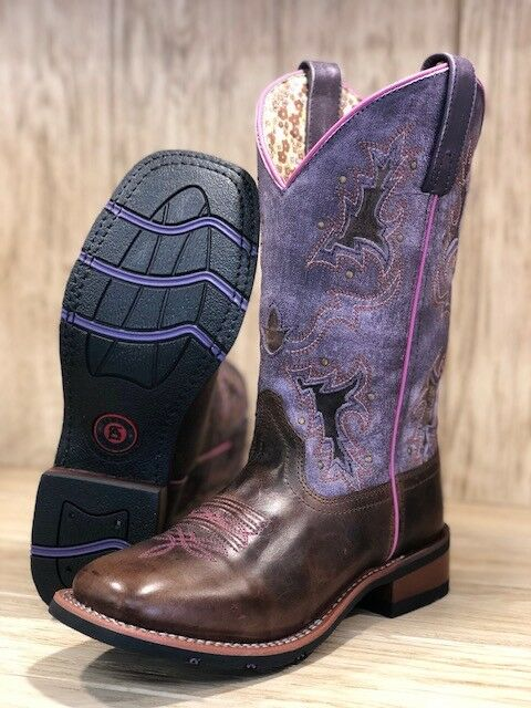 Laredo Women's Lola Tan & & & Purple Inlay Square Toe Western Boots 5657 aedc0e
