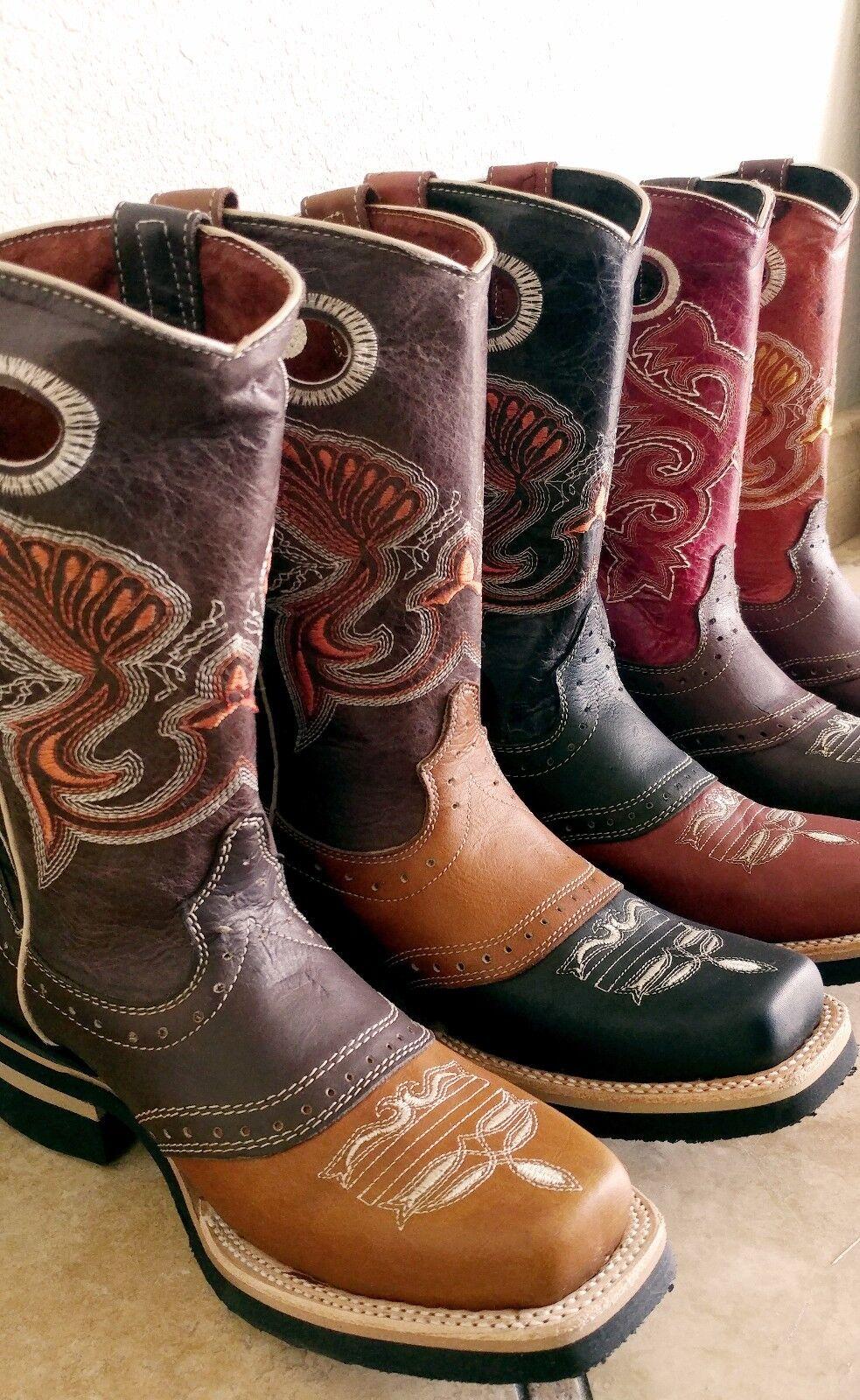 Uomo El Presidente Two Tone Leder Cowboy Square Stiefel Western Wear Rodeo Square Cowboy Toe e63da9