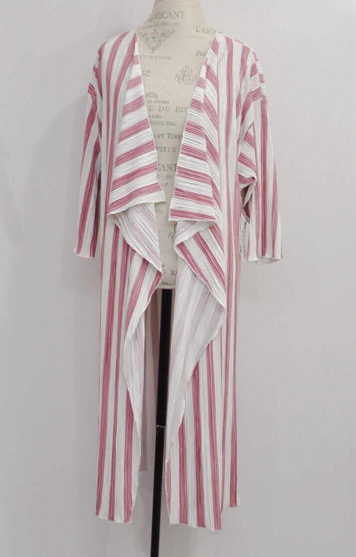 Lularoe Shirley Größe Large L NWT Kimono Crinkled Mauve Rosa Weiß Long Cardigan