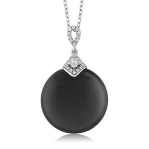 925-Sterling-Silver-Black-Onyx-with-CZ-Pendant-with-18-034-Silver-Chain