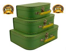 3PCS Luggage Travel Set Vintage Green Style Suitcase Box Storage Organizer NIB