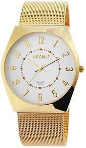 Akzent-Herrenuhr-Weiss-Gold-Analog-Metall-Meshband-Armbanduhr-Quarz-X2300006005