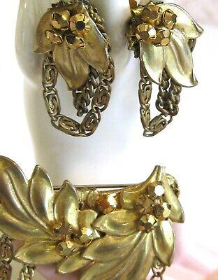 Vintage Rhinestone Jewelry Prong Set Glass Rhinestone Brooch /& Clip Earrings Signed Haskell Flower Miriam Haskell Pin Earrings Set
