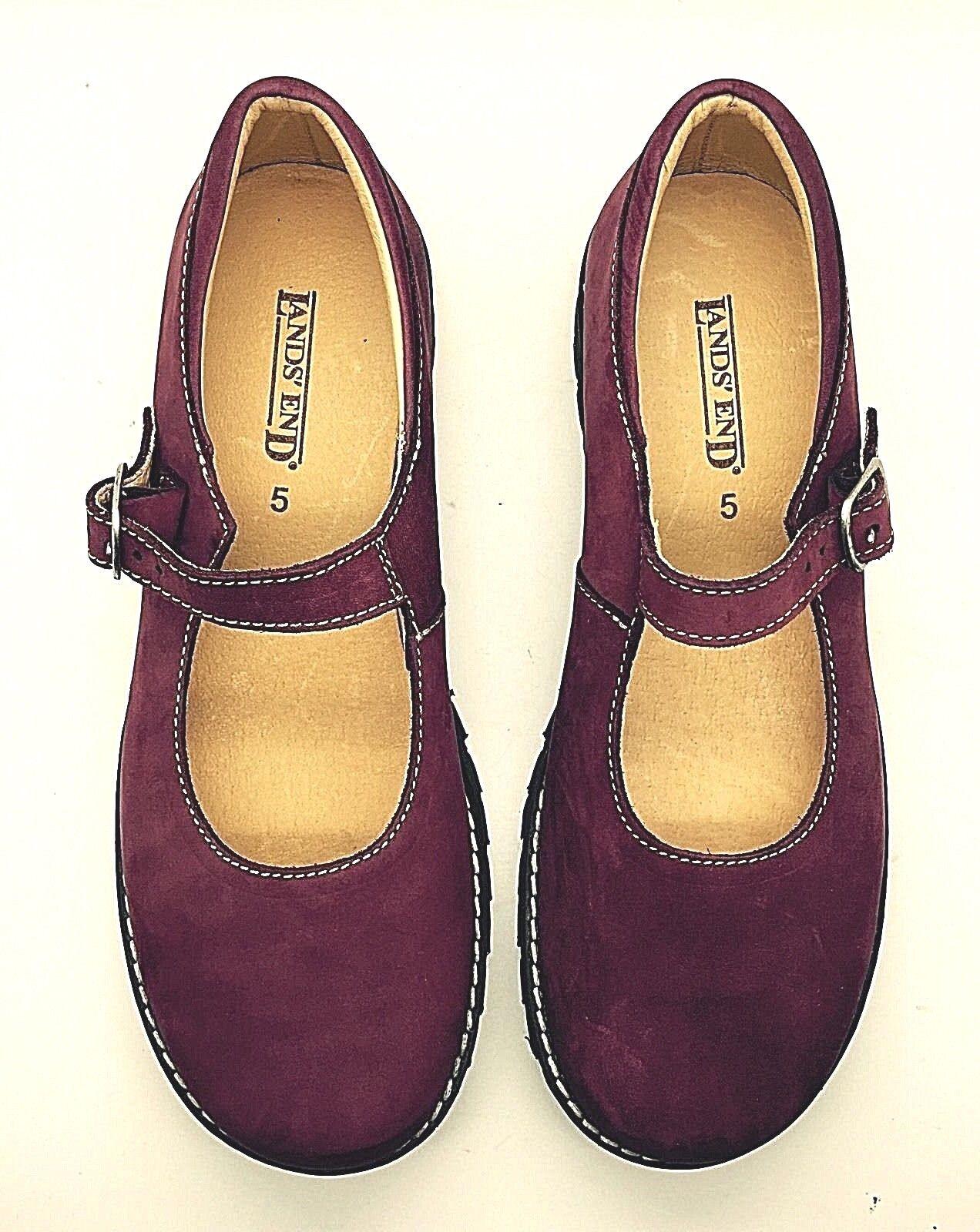 LANDS 'END rouge bordeaux en Cuir et Daim Mary Jane Confort Marche Chaussures 5 M Espagne neuf
