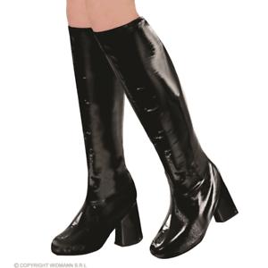 Womens Black Go Go Boot Covers 19060s 1970s Hippy Fancy Dress Accessory Mod GoGo