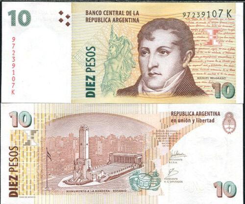 ARGENTINA 10 PESOS 2009-2010 SERIES K P 354 UNC