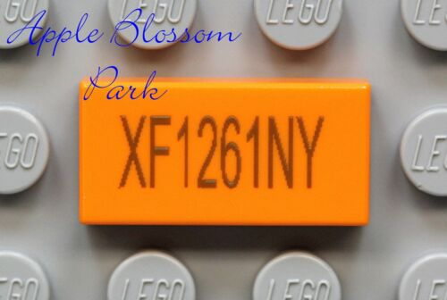 NEW Lego x1 Truck Car LICENSE PLATE 1x2 PRINTED ORANGE MINIFIG TILE Numbers Vary