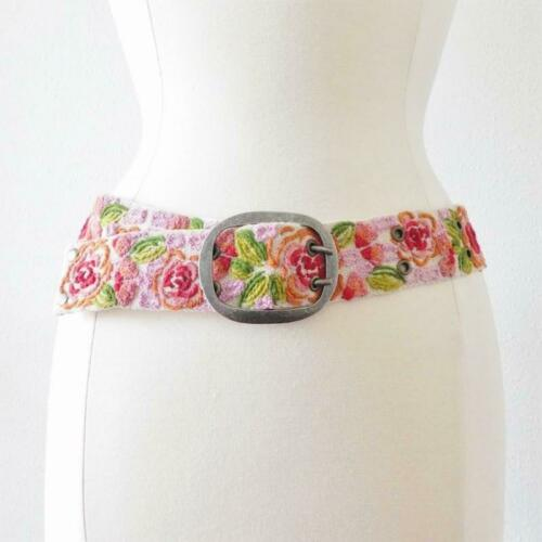 New Jenny Krauss Floral Delight Embroidered Wool Belt Handmade in Peru S M L