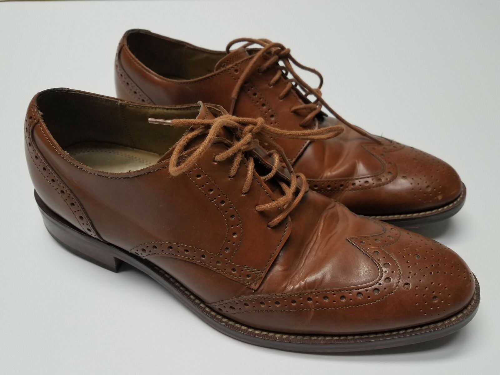 Cole Haan Grand OS Wingtip Scarpe Pelle Oxford Brogue marrone Taglia 9