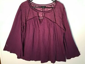 Lucky-Brand-Boho-Peasant-Embroidered-Trim-Flared-Long-Sleeve-Tunic-Woman-039-s-XL