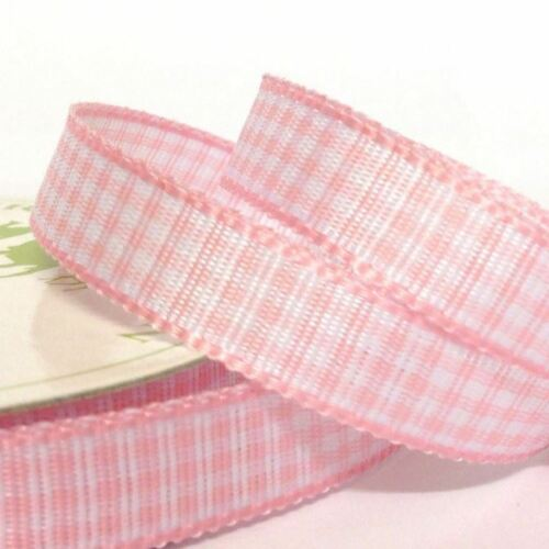 10mm x 5m Three Kings Woven Gingham Checked Ribbon Roll Choice of Colours