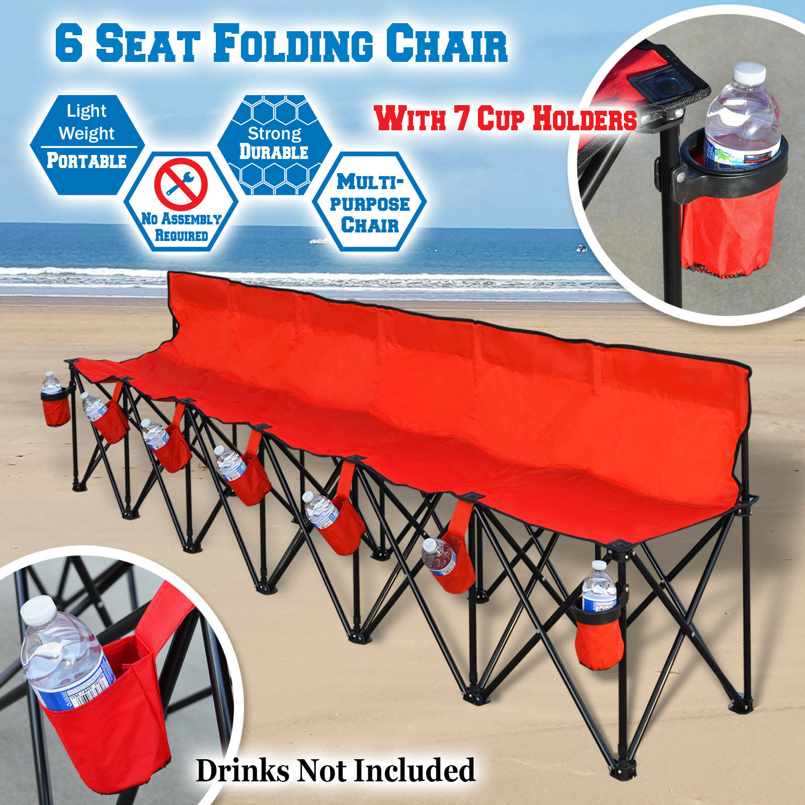Phenomenal Portable 6 Seater Folding Bench Sport Sideline Chair W Bag 7 Red Cup Holders Dailytribune Chair Design For Home Dailytribuneorg