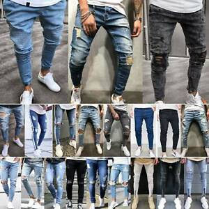 Mens-Ripped-Skinny-Jeans-Stretch-Denim-Destroyed-Casual-Trousers-Pants-Bottoms