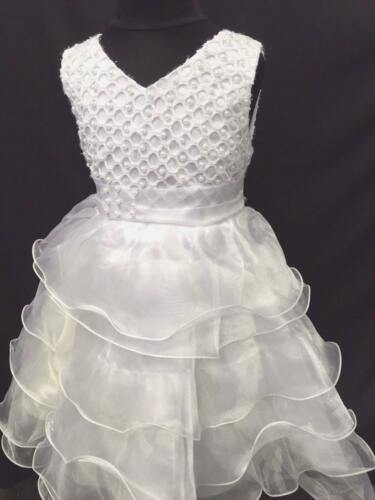 NEW BABY GIRLS SPECIAL OCCASION WHITE RUFFLE FRILLY PARTY DRESS WITH PEARLS 1-2Y