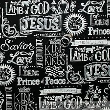 BonEful Fabric FQ Cotton Quilt B&W Faith Religious Word God Jesus Lord Christian