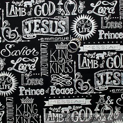 BonEful Fabric Cotton Quilt B&W Religious Xmas God Jesus Christian Word Lg SCRAP