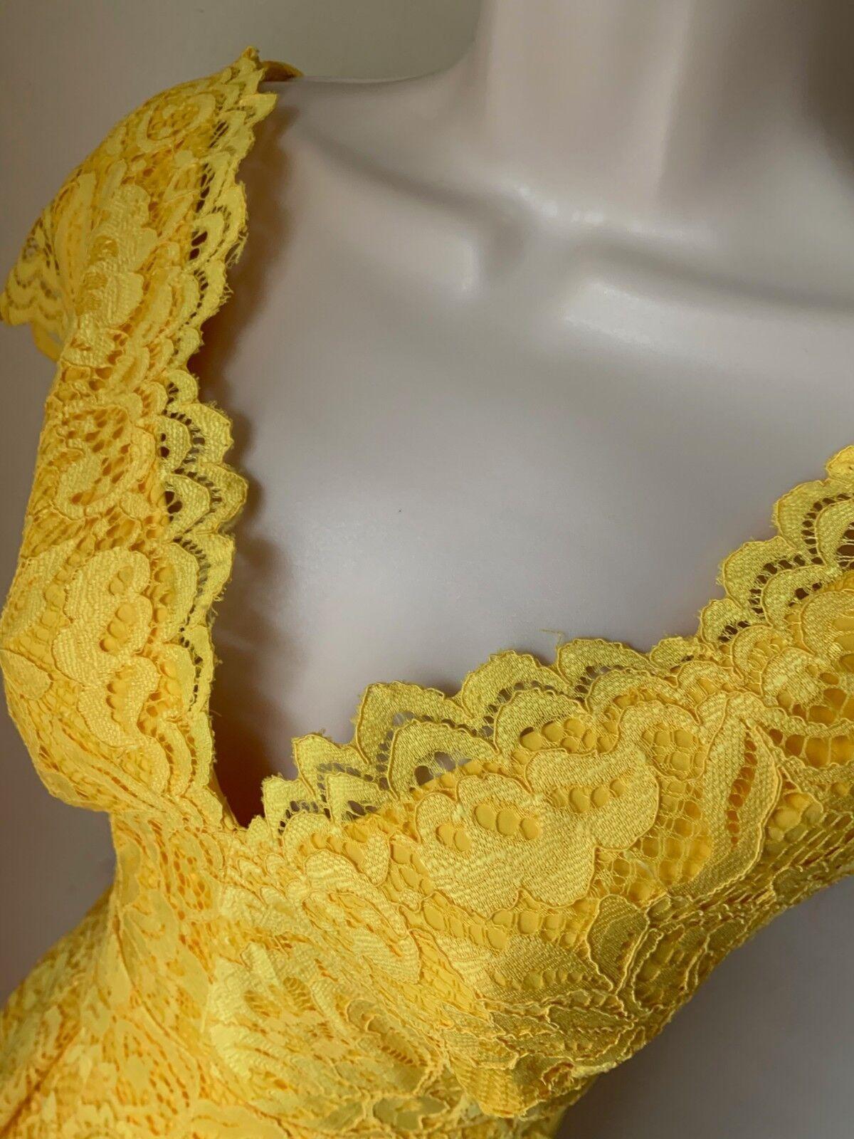 e9a0b873ced ... Leslie Fay Fay Fay Lace Yellow Fit   Flare Dress F1801093 NWT Size 4  8ec66d ...