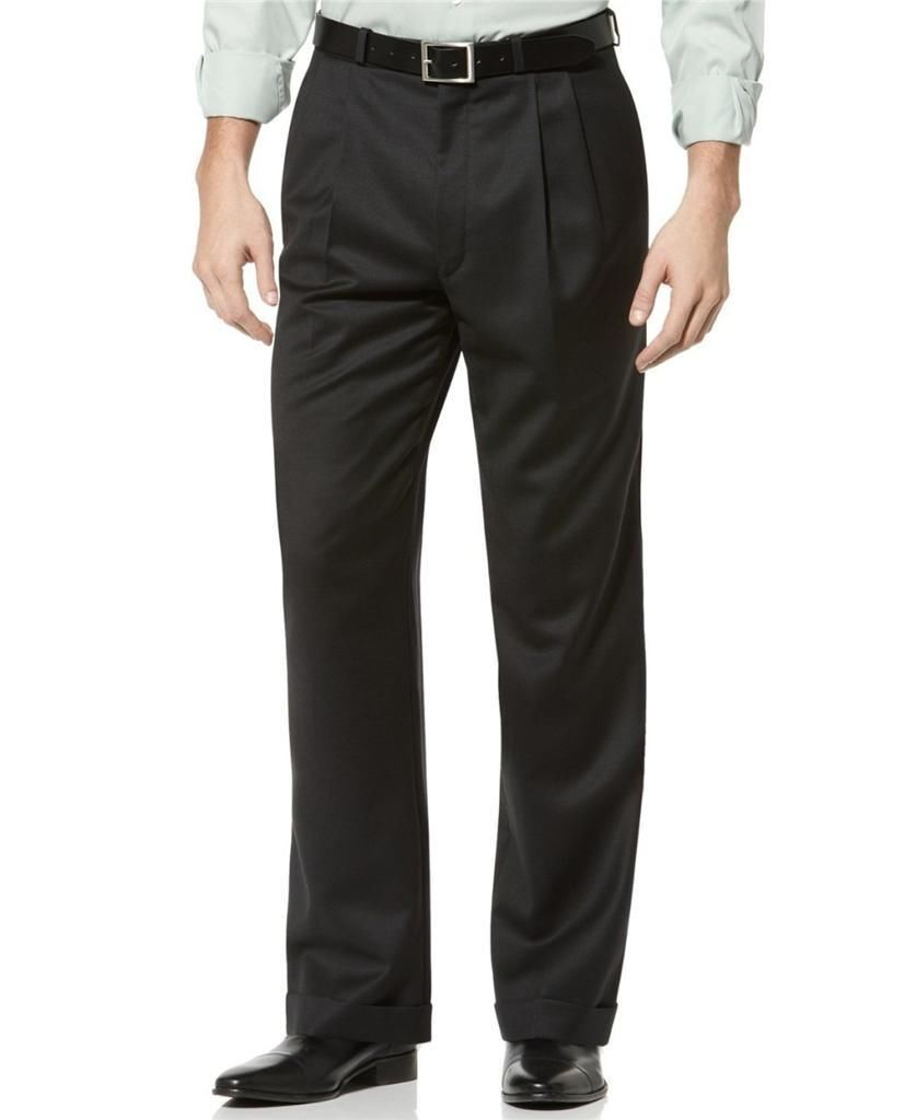 NWT  ENZO MANTOVANI ITALIAN Wool Cashmere Blend Dress Pants CHARCOAL-34x29
