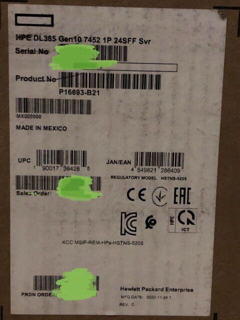 HPE ProLiant DL385 Gen10 Server 32C EPYC 7452 16GB RAM 24x SFF 800W PSU P408i-A