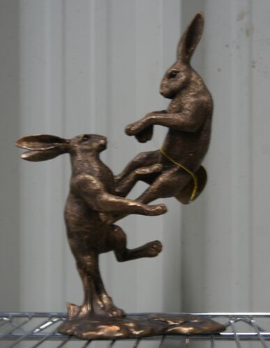 Reflections Bronzed Fighting Hares Ornament Figurine by Leonardo Collection