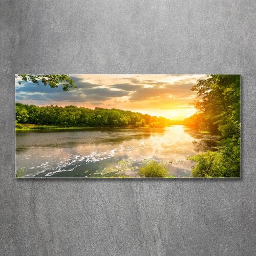 Wandbild aus Plexiglas® Druck auf Acryl 120x60 Landschaften Dämmerung Fluss