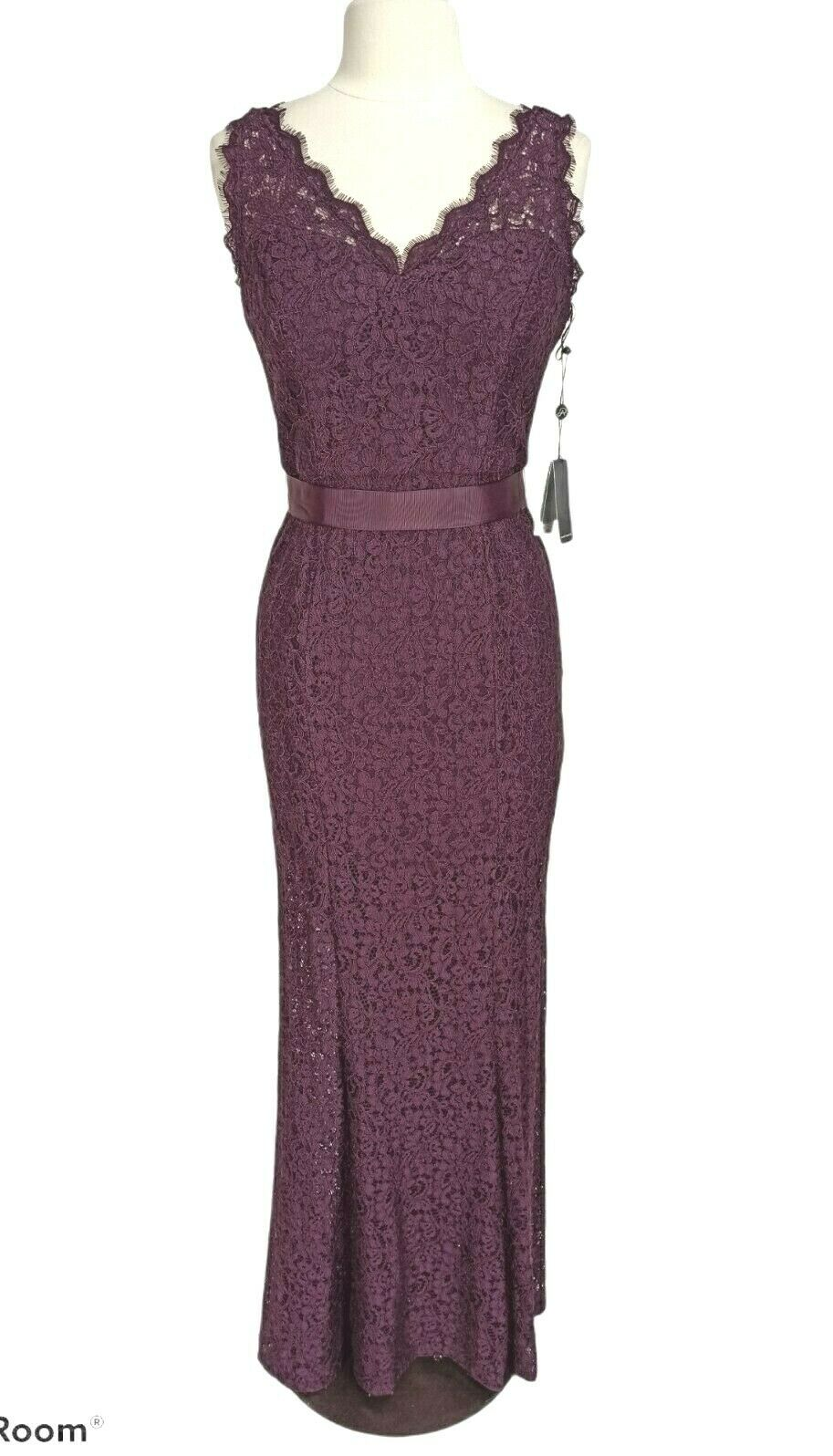 Adrianna Papell Burgundy Lace V-Neck Sleeveless Gown Maxi Mermaid Dress Size 10