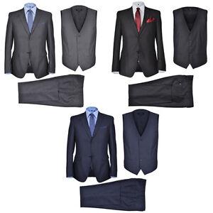 Herren-Anzug-3-Teiler-Slim-Fit-Sakko-Hose-Weste-Jacke-Hochzeit-Smoking-Business
