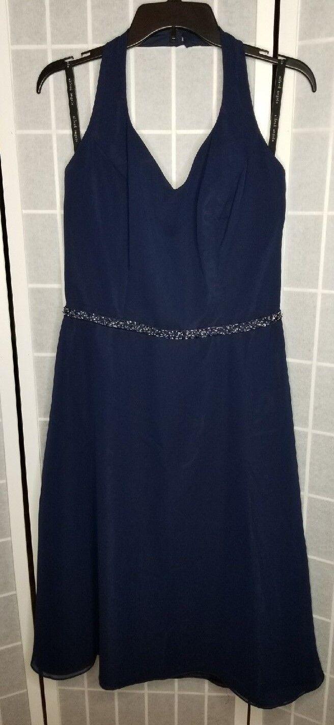 Alfred Angelo Bridemaids/ Formal tea length Navy Halter dress Sz 16 #6323 NWT