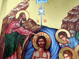 Details About Baptism Of Jesus Christ On Jordan Icon Icon Icon Angel Baptism Icoon Ikon Icono Show Original Title