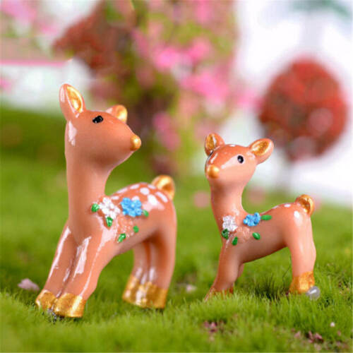2Pcs Lovely deers Miniatures For Fairy Garden GnomesMossTerrariumsDecorationBDAU