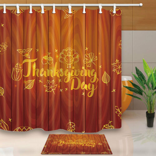 Thanksgiving Wood Striped Decor Waterproof Shower Curtain Bath Rugs Set/&12 Hooks