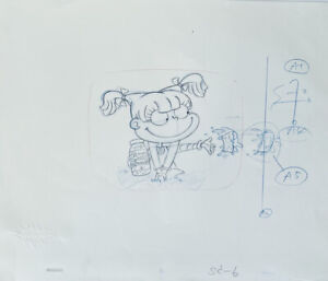 Rugrats Original 1990's Production Cel Drawing Angelica Car Seat