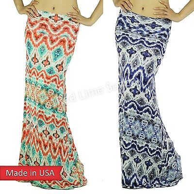 HOT Boho Baroque Tribal Tie Dye Ombre Color Ethnic Print Foldover Maxi Skirt USA