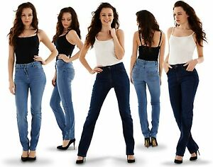Ladies Straight Leg Jeans Womens Denim Blue Indigo Sizes 8-26 | eBay