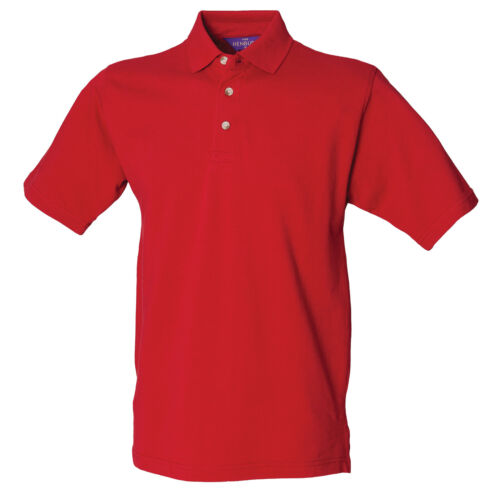 Henbury Classic Cotton Stand-up Collar Pique Polo H100 Unisex Plain Casual Tee