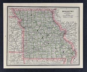 Details About C 1886 George Cram Map Missouri St Louis Jefferson Columbia Kansas City Mo