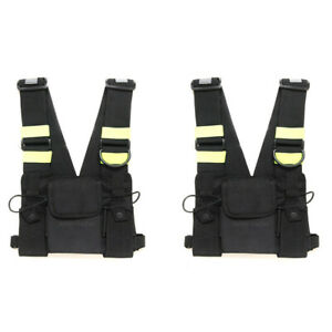 2X-Chest-Front-Pack-Pouch-Holster-Carry-Bag-Baofeng-Kenwood-Yaesu-Walkie-talkie