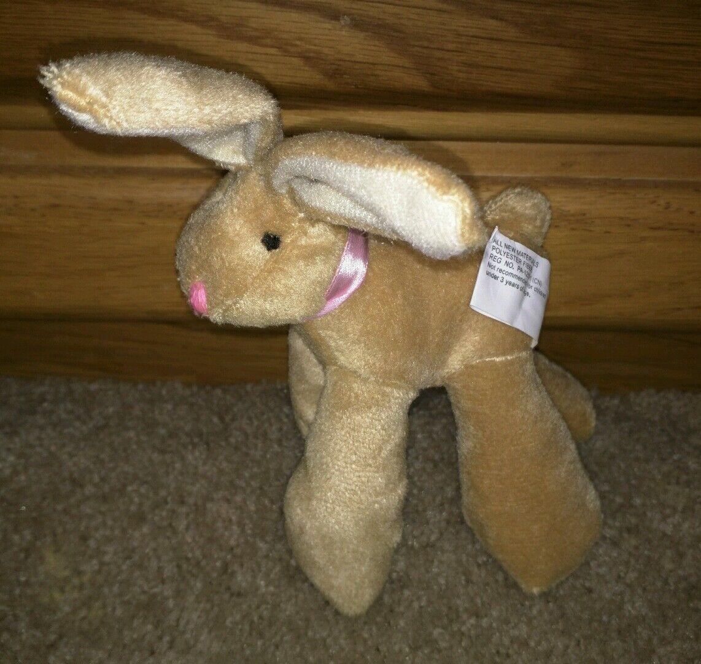 Stuffed animal plush long legged bunny pink ribbon for good for ribbon Easter or gifts 26b8bb