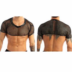 Herren-Crop-Top-Kurzarm-Shirt-Fischnetz-Mesh-T-Shirt-Bauchfrei-Clubwear-Schwarz