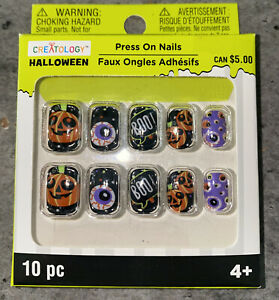 Creatology Halloween Mixed Designs Pumpkin Boo Press On Nails 10 Pc Ages 4+ New