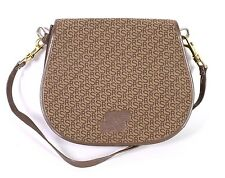 17B  Rolf Schulte Damen Tasche Leder Textil braun Monogramm Saddle Bag Vintage