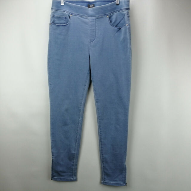 Martha Stewart Knit Denim Ankle Jeans Zipper Light Indigo 2 NEW A351436