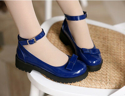 Stylish Womens Bowknot Flat Oxford Round Toe Ankle Strap Mary Jane Shoes Plus Sz
