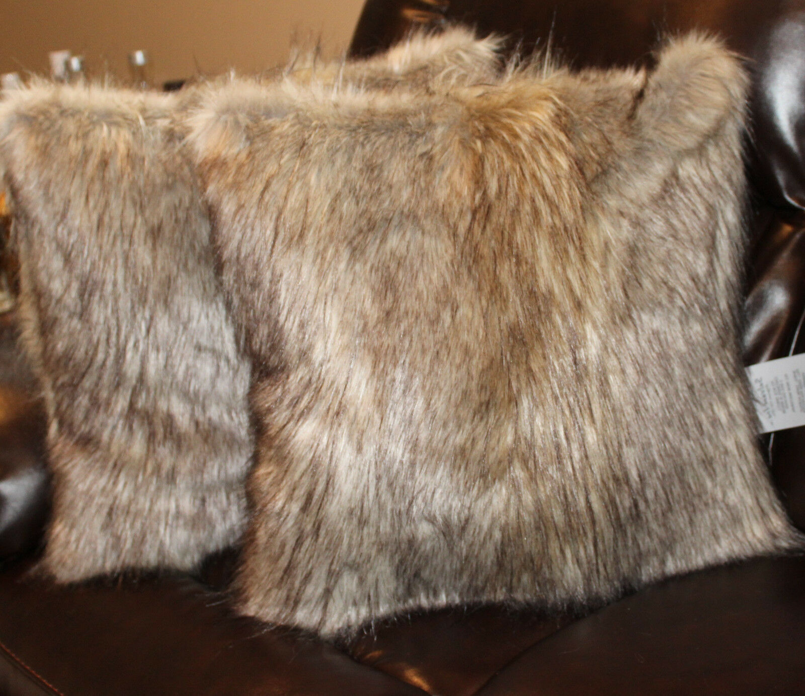 Faux Fur Pillow Cover Arctic Wolf 18 x 18 in - Set of 2